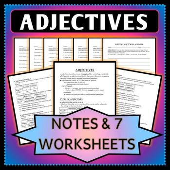 spanish 1 adjective agreement notes worksheets and activity spanish activities and the. Black Bedroom Furniture Sets. Home Design Ideas