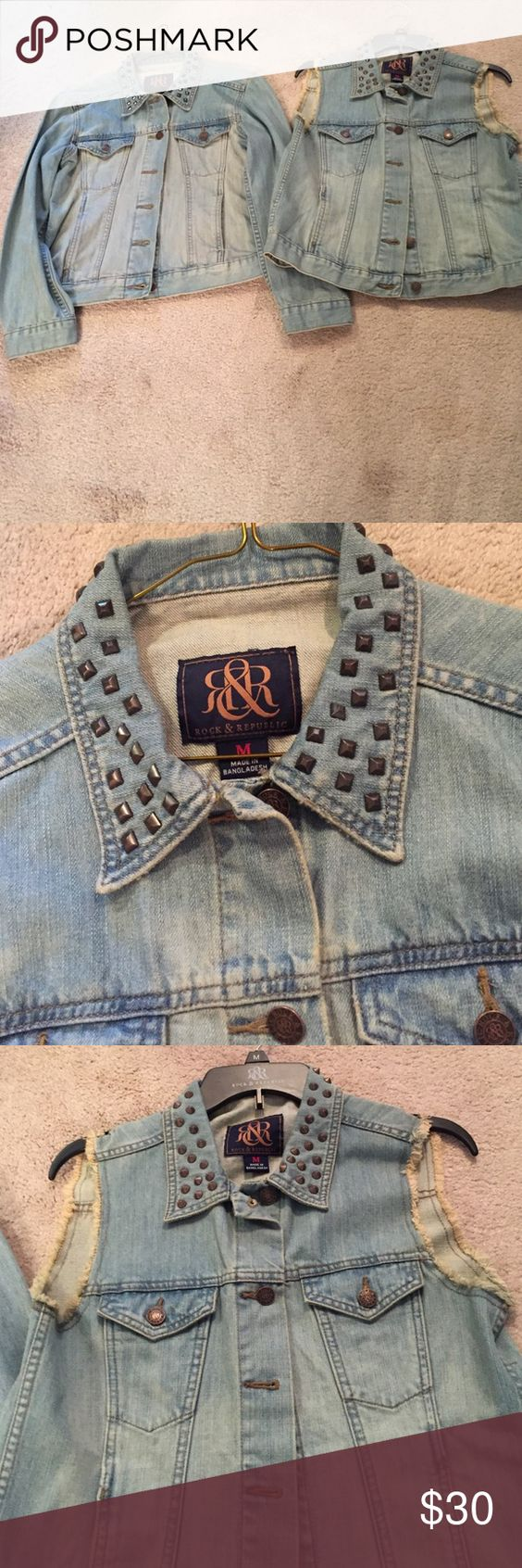 Rock & Republic blue jean jacket & vest Rock & Republic matching blue jean jacket & Vest with gold studs around the collar.  Very cute set, never worn.  Will sell separately if you don't want both. Rock & Republic Jackets & Coats Jean Jackets