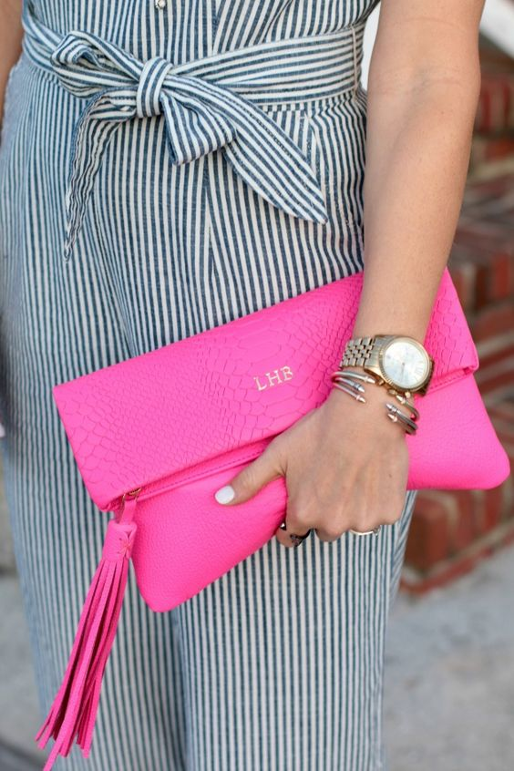 Loving this monogrammed  foldover clutch from Gigi New York
