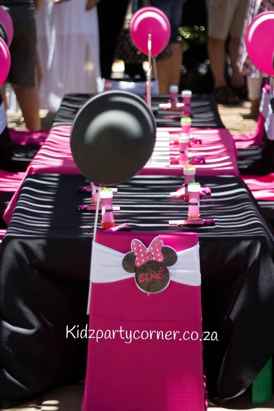 Minnie Mouse party theme supplies, favours and decor. We design and create any theme for any occasion and age customised according to your specifications. Door to door courier country wide at affordable prices - unique and convenient. Styling and set-up packages available in PTA and JHB at you own venue or at one of our Alberton venues. Visit our website www.kidzpartycorner.co.za or email Info@kidzpartycorner.co.za for more details http://goo.gl/eXPqNy