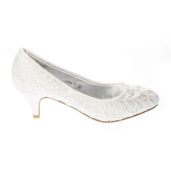 Ivory Low Heel Lace Court Shoe - BHS | Wedding Dress and shoe