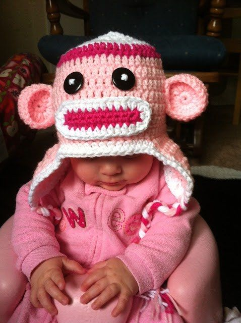 Free Crochet Pattern Sock Monkey Hat For Baby : Sock monkeys, Monkey and Sock on Pinterest