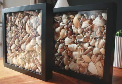 Seashell Shadow Box! much better than the glass vase that we use!