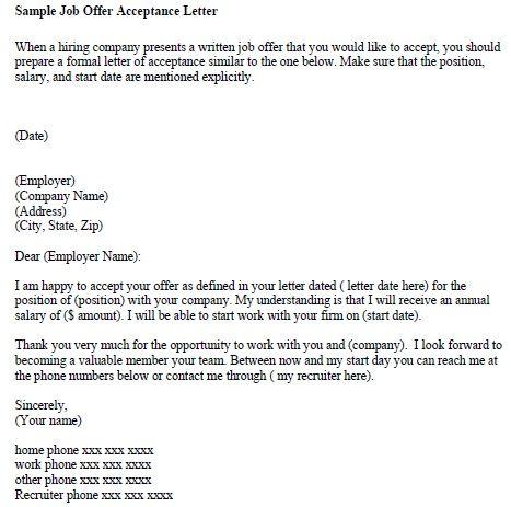 Sample Teacher Job Offer Letter