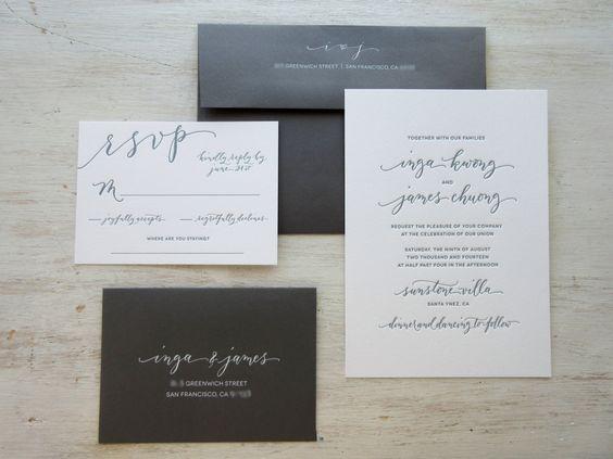 Modern Chic Calligraphy Letterpress Wedding by AngeliqueInk