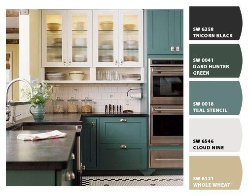 Cabinet color sherwin williams teal stencil sw 0018 new for Bi colored kitchen cabinets