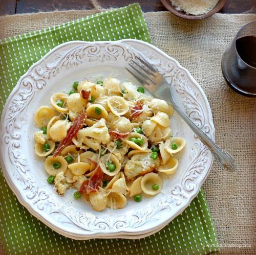 Orecchiette with Roasted Cauliflower, Prosciutto andPeas