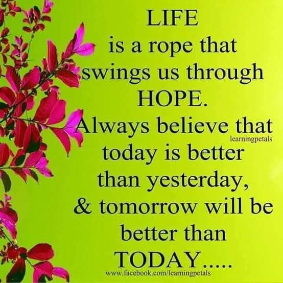 Today Is Better Than Yesterday Life Hope Believe Today Yesterday Tomorrow Betterment Truth Hope Quotes Self Confidence Quotes Positive Thoughts