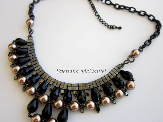 Beaded Chain Necklace with Sw pearls , crystals, seed beads ...