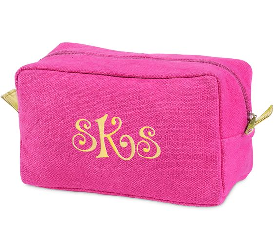 Pink Monogrammed Durry Cosmetic Bag
