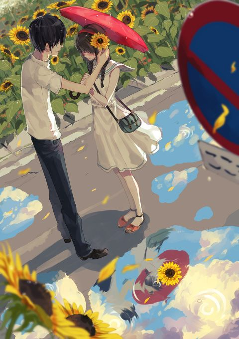 ✮ ANIME ART ✮ anime couple. . .romantic. . .love. . .sweet. . .flowers. . .after the rain. . .puddles. . .umbrella. . .flower petals. . .summer love. . .cute. . .nature. . .kawaii