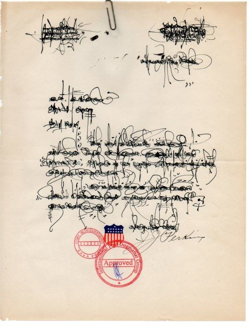 Asemic Palimpsest Correspondence by Cecil Touchon. Made on 1920's corporate…: