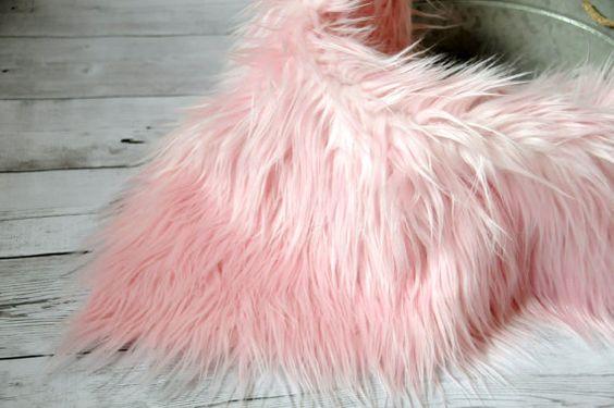 "CLEARANCE- 18""x20"" Soft Pink Faux Fur, Newborn Photo Prop, Fur rug, Basket Filler, Faux Fur Fabric, Mongolian Fur, Basket Stuffer, Backdrop"