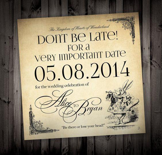 Elegant Alice In Wonderland Themed Wedding Invitations By NimbiDesign, $25.00 |  Crafty And Such | Pinterest | Themed Weddings, Alice And Weddings