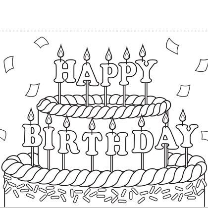 Print Out Coloring Birthday Cards – Birthday Cards to Print and Colour
