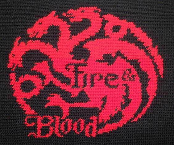 Free Crochet Pattern Game Of Thrones : House Targaryen Banner (Game of Thrones) ~ free pattern ...