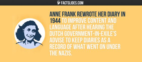 Anne Frank rewrote her diary in 1944 to improve content and language after hearing the Dutch government-in-exile's advise to keep diaries…