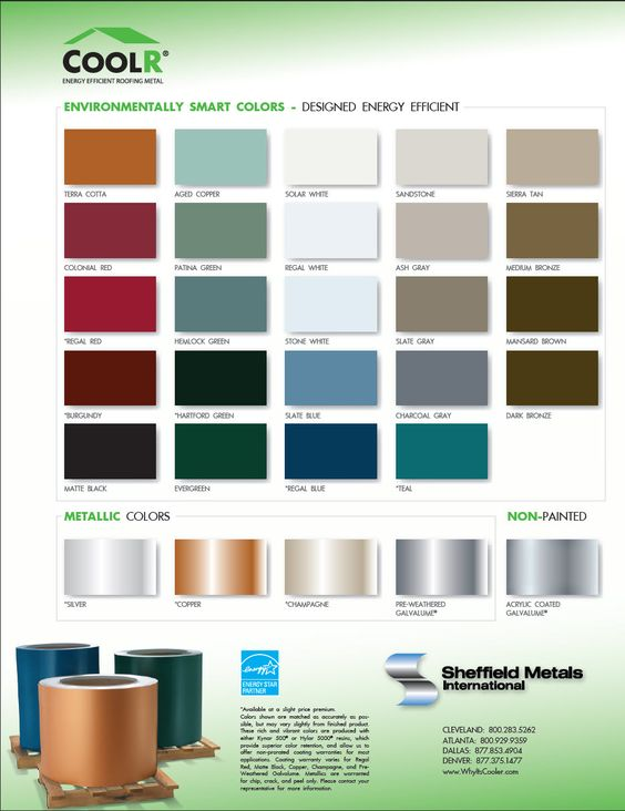 Metal Roofing Color Chart For The Home Pinterest