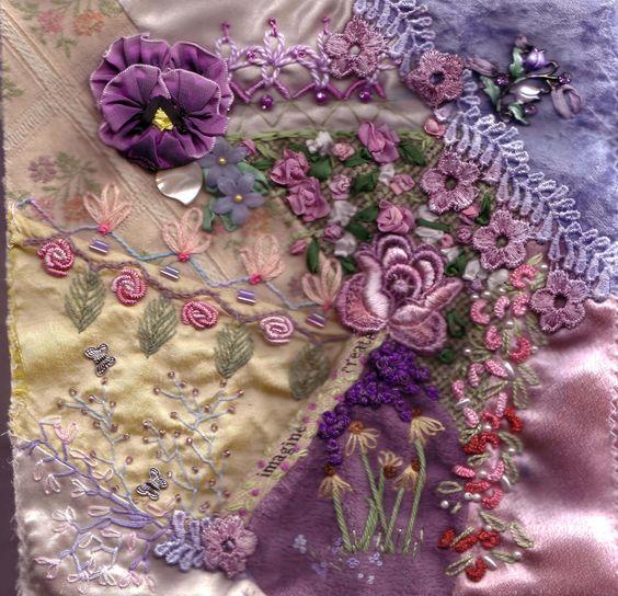 floral embellishments, crazy quilt: