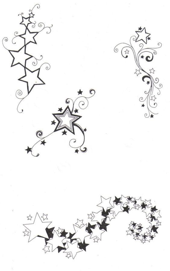 online tattoo vorlage sterne mit schn rkel und schweif schmuck pinterest design tattoo. Black Bedroom Furniture Sets. Home Design Ideas