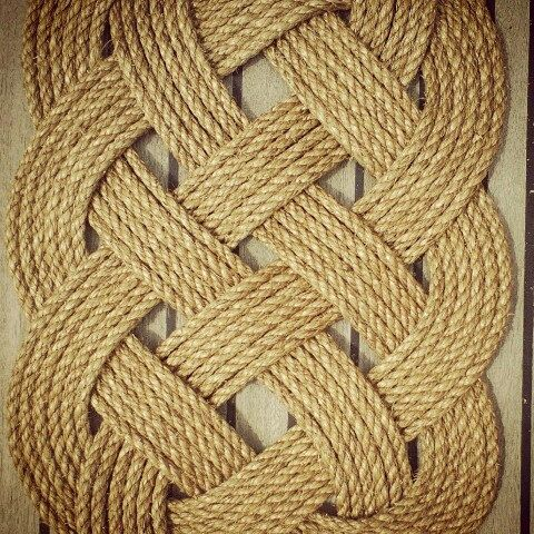 Nautical Natural And Knotted Ocean Plait Floor Mat Made From Manila Marine Rope