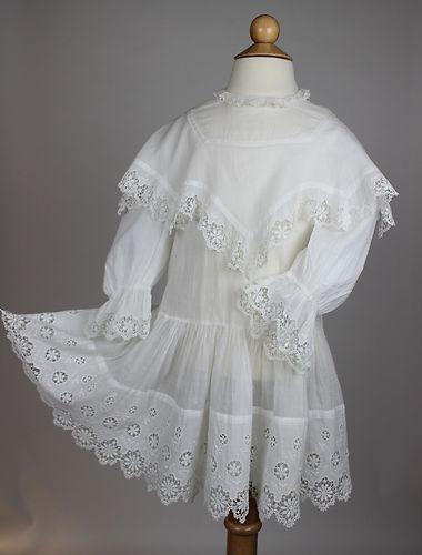 Antique White Cotton Children's Dress with Incredible Workmanship | www.SarahElizabethGallery.com