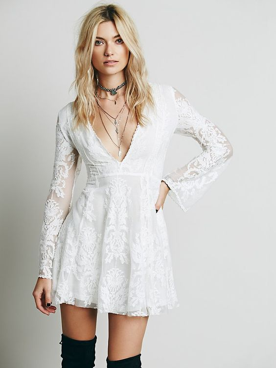 Free People Reign Over Me Lace Dress, $128.00; gorgeous in the red color for a night out! Clip at front, runs longer:)