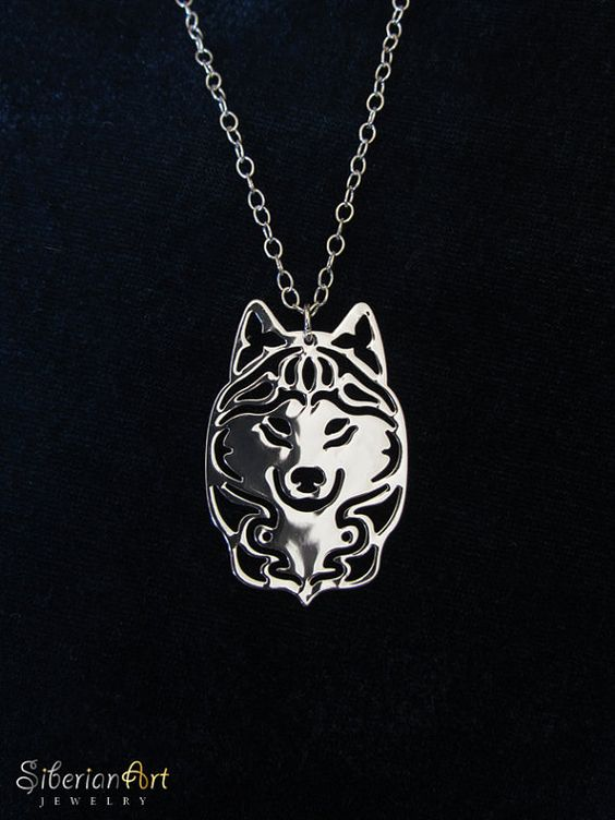 siberian husky jewelry sterling silver pendant and