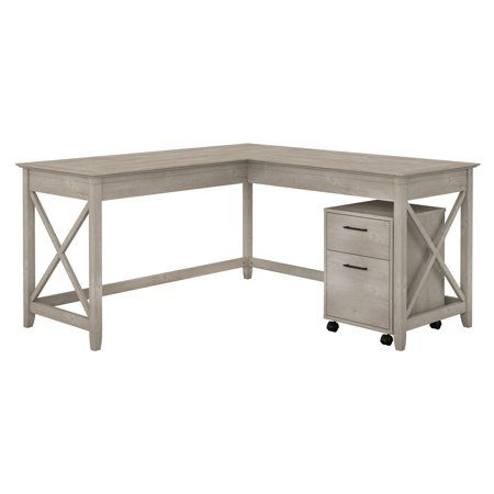 Bush Furniture Key West 60w L Shaped Desk With Mobile File Cabinet In Washed Gray Walmart Com Mobile File Cabinet L Shaped Desk Bush Furniture