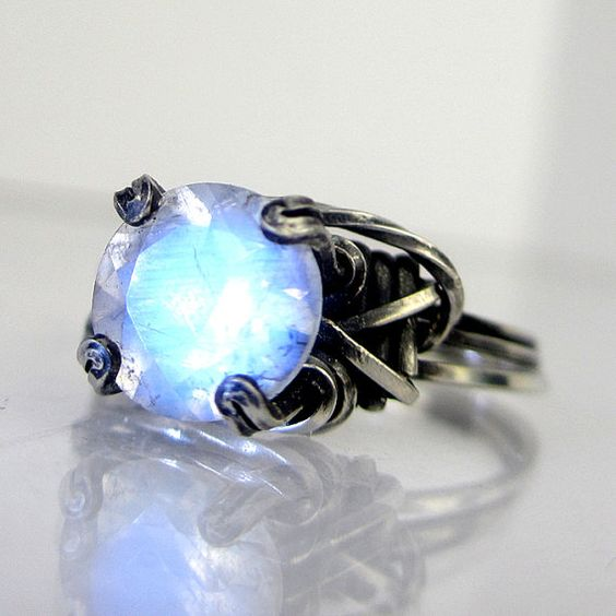 Moonstone Oxidized Silver Ring