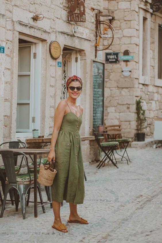 green cotton linen women new long dresses