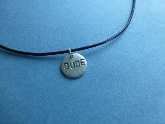 DUDE hand stamped metal thin black leather necklace by wonderkath