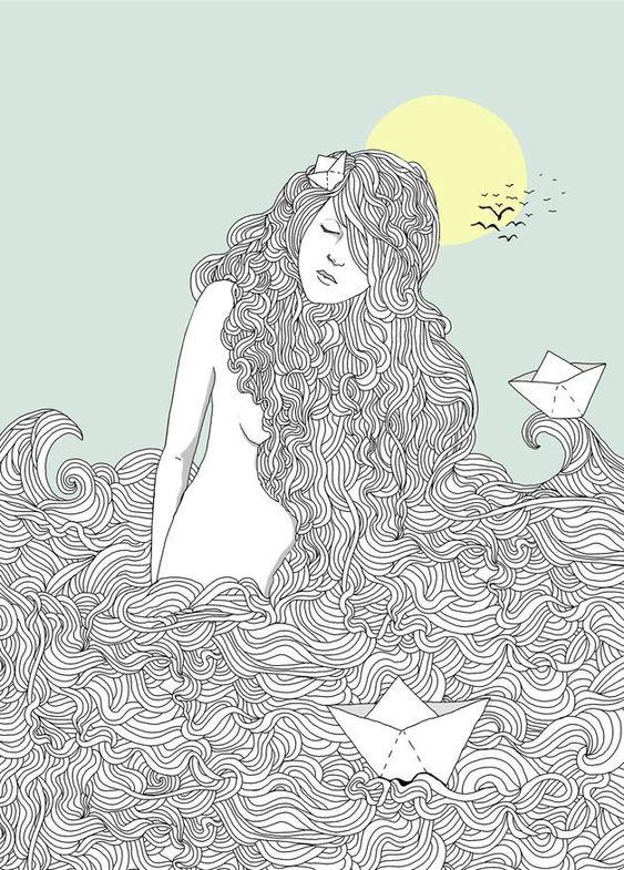 Die Illustration des Mädchens einem Meer aus Haaren wurde auf 180 g seidigmatte