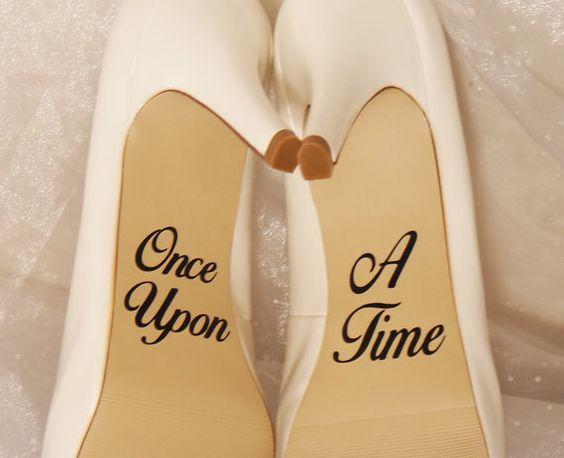 Once Upon A Time mariage chaussure autocollants, décalcomanies de talons hauts, chaussure autocollants pour mariage, Stickers de mariage de chaussure, chaussure personnalisée autocollants, Stickers chaussure Disney