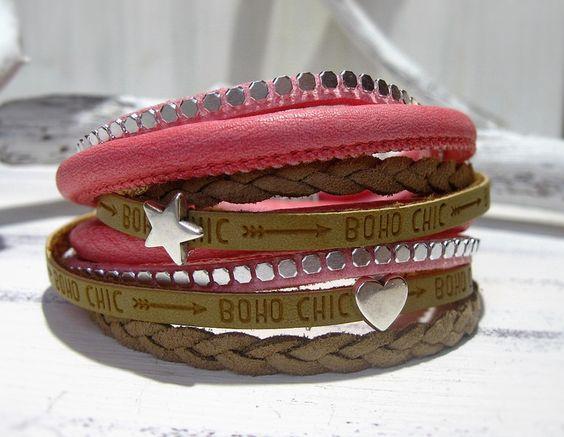 Wickelarmband+Leder+rosa+pink+Stern+Herz+von+ChaPu+auf+DaWanda.com