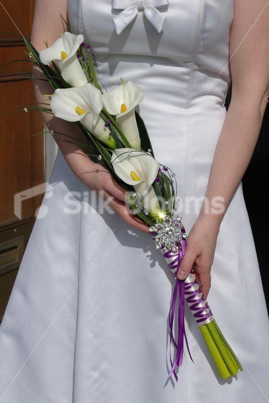Ivory Calla Lily Artificial Overarm Bridal Wedding Bouquet