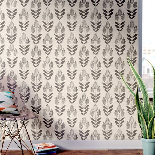 Ladwig Scandinavian Block Tulip Floral 33 X 20 5 Wallpaper Roll