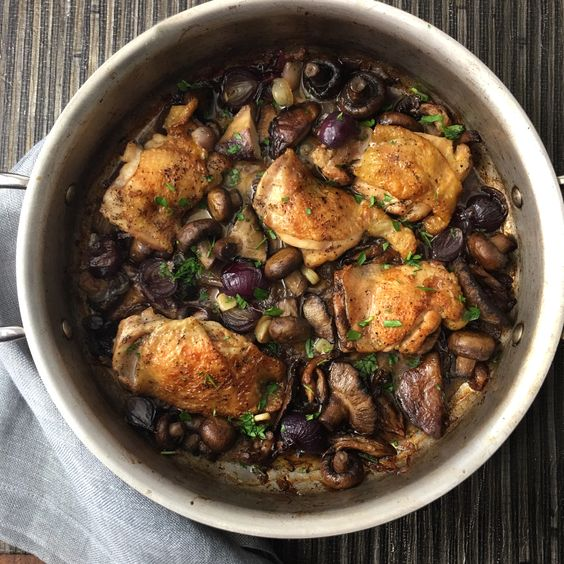 Chicken Thighs with Mushrooms and Shallots | Inspiration for Everyday Food Made Marvelous