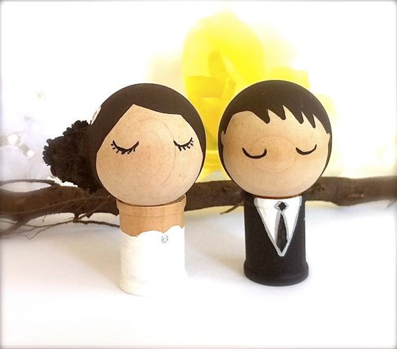 Ordered!  Sent photos of the Groom's suit and green tie, the Bride's feather hair clip and ivory wedding dress.  Will be done on time.  Wedding Cake Topper Bride and Groom Custom by CreativeButterflyXOX, $48.00