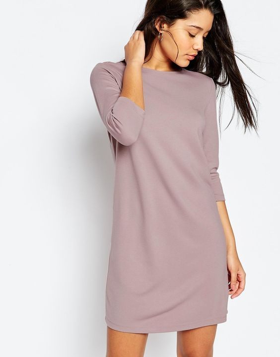 Image 1 ofASOS Shift Dress in Ponte with 3/4 Sleeves