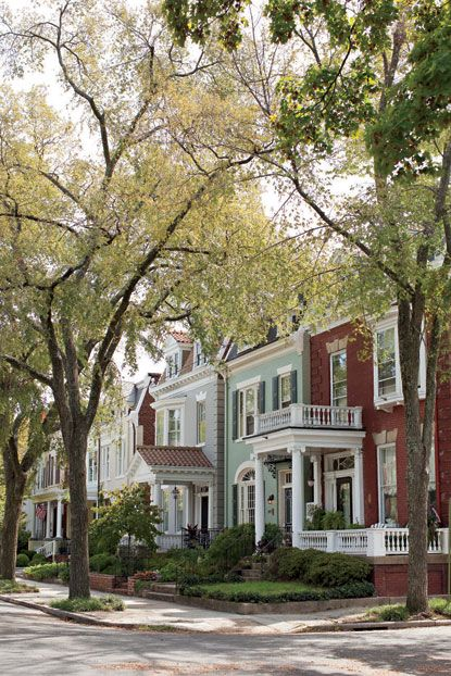Beautiful city street in the Fan district of Richmond, VA: