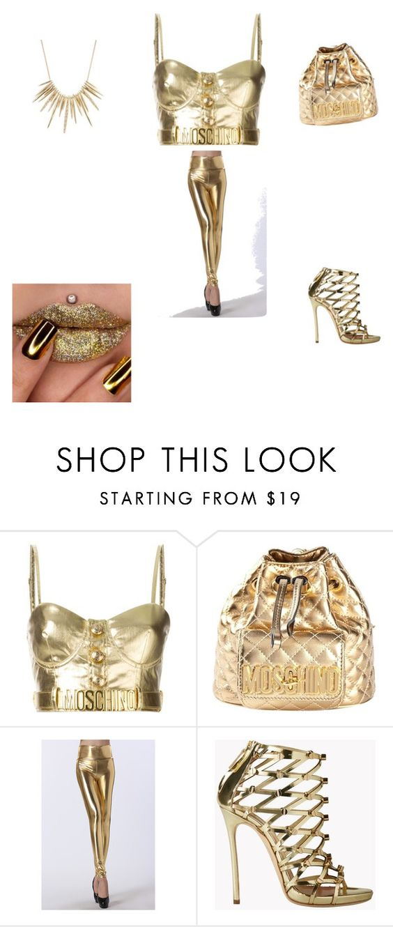 """Gold party"" by trust-kashmir ❤ liked on Polyvore featuring Moschino, Dsquared2 and Alexis Bittar"