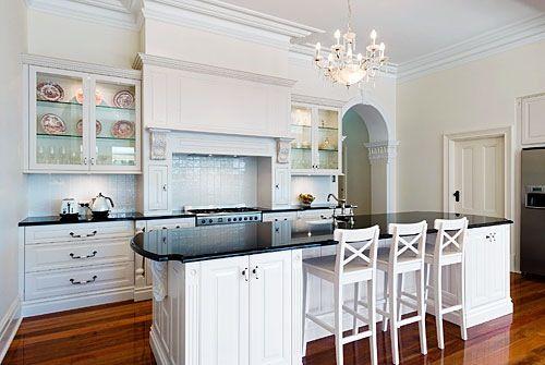 White Kitchen Black Benchtop floorboards, black benchtops, white cupboards, vintage feel
