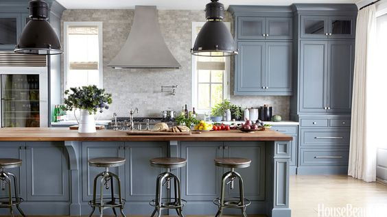The Look: Grounding gray cabinets with industrial style light fixtures and bar stools