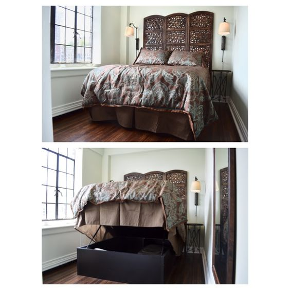 """We are pleased to share a product with you that we have used recently in our """"English Gentleman's Study"""" project. This storage bed makes a great use of space while maintaining style! With it's hydraulic mechanism, the space underneath is easy to access. This is truly a win-win product! #hydraulicbed #storage #tinyspaces #nycliving #nycdesign #lifestylespacedesign"""