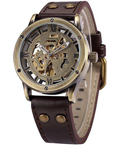 AMPM24 Herren Armbanduhr Automatik Mechanik Uhr Braune Armabnd aus Kunstleder Skelett PMW362 - http://uhr.haus/ampm24-2/ampm24-herren-armbanduhr-automatik-mechanik-uhr