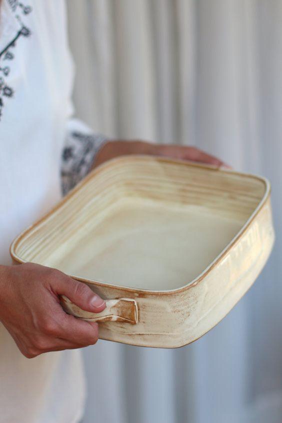 Large baking dish, ceramic baking dish, white baking dish, lasagna dish…