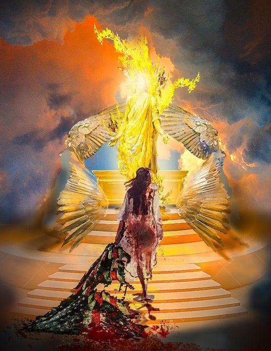 Woman with Tattered American Flag at throne of Heaven, Jesus prophetic art.   Prophetic art, Spiritual art, Prophetic  painting
