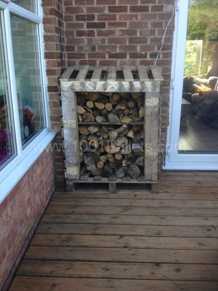 Log Shed Made Out Of Pallets
