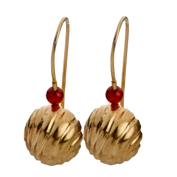 Golden Bell Earrings with Red Beads. – City of David Store